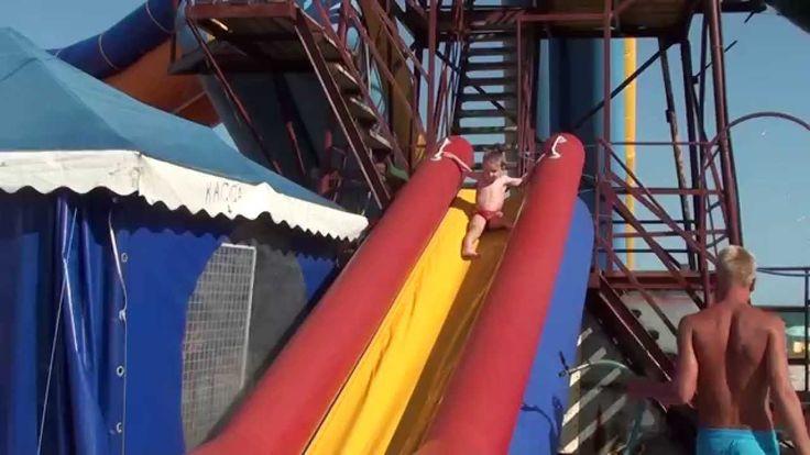 #4 Водные горки для детей Затока 2015 Море    water slides for kids Zato...