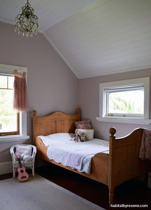 Their daughter's bedroom is painted in Resene Blanched Pink – a lovely dusky pink that changes with the light, says Harriet.