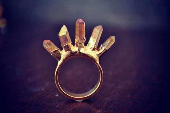CRYSTAL KILLER /// Stackable Gemstone Gold Electroformed Ring /// Size 9