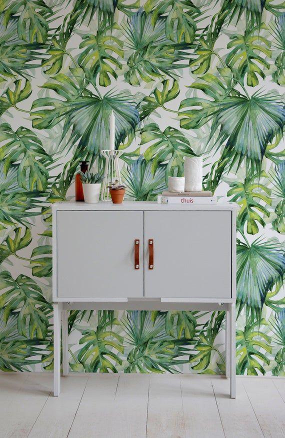 Monstera Wallpaper Removable Wallpaper Tropical Wallpaper Etsy Tropical Wallpaper Removable Wallpaper Tropical Wall Decor