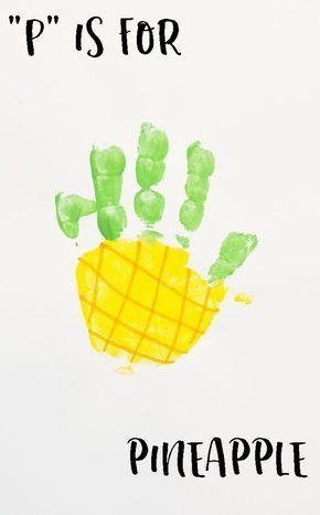 Letter P Pineapple Handprint Art For Preschoolers