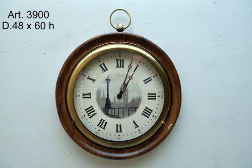 Orologio da Parete In Legno Artigianale Numeri Romani Muro Classico Tondo 3900