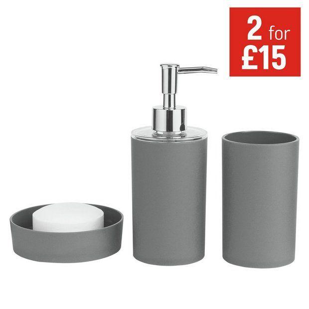 buy colourmatch bathroom accessory set flint grey at argoscouk your