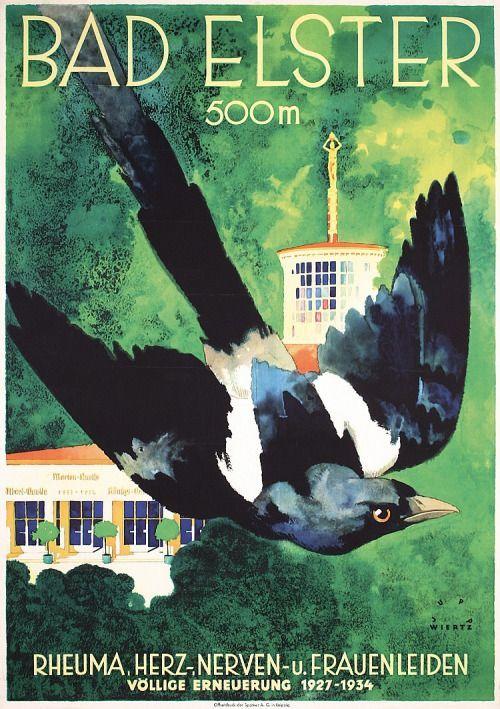 Vntgtravel: Bad Elster   Germany Travel Poster, 1935 Artist... (Art Deco)