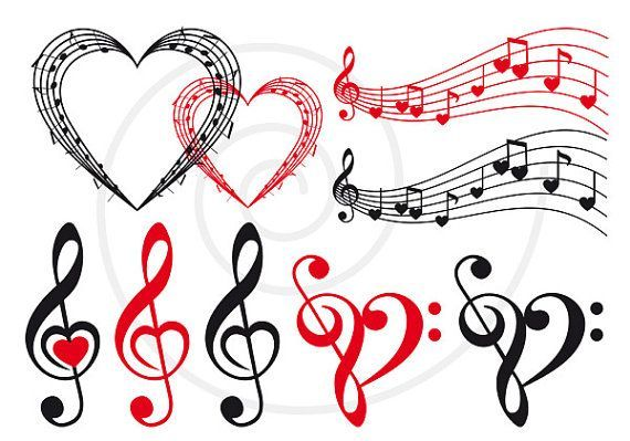 Love music, music heart, musical notes, digital clip art set, clipart, scrapbooking, fabric transfer, logo, graphic design, vector, download