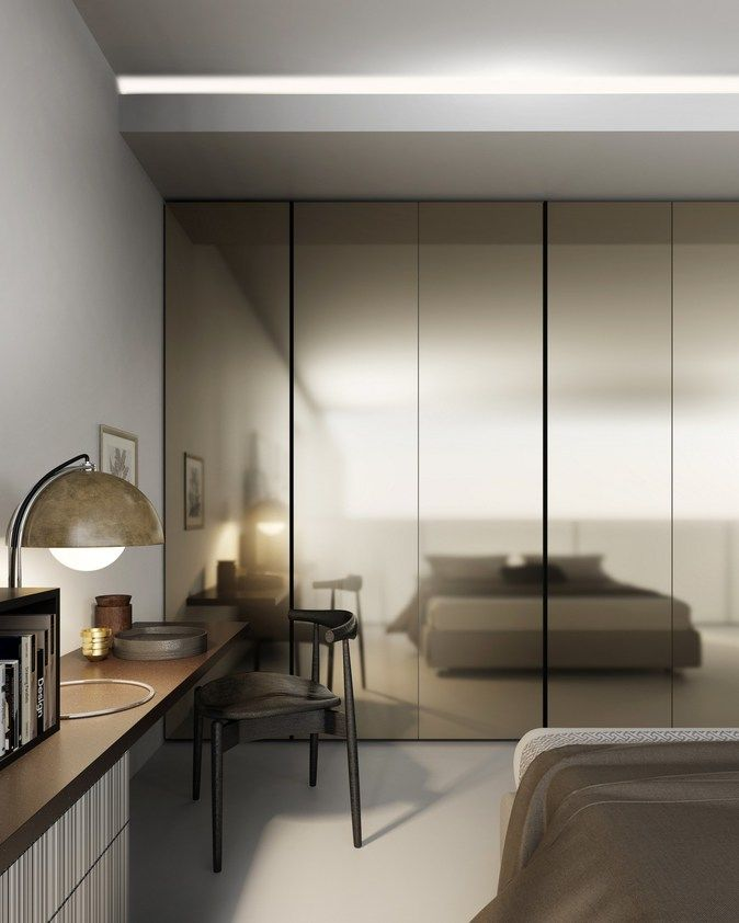 Mirrored laminate wardrobe DR-MØRE | Mirrored wardrobe by De Rosso