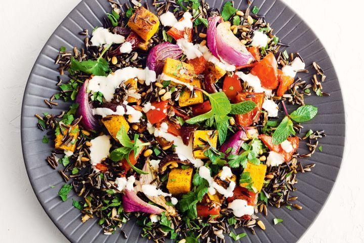 Wild rice and spiced roast veg salad