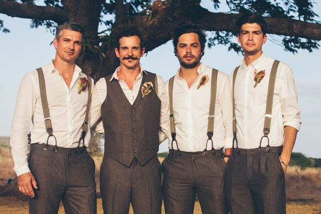 Brown groomsmen with suspenders. Gorgeous bohemian nicaraguan wedding. Popoyo beach. Photographer: Parker Young