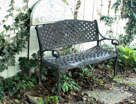 iron garden benches with rose design   ... Fold and Glue Garden Bench Cushion » Curbly   DIY Design Community