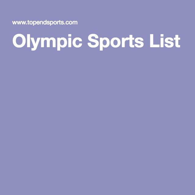 Olympic Sports List