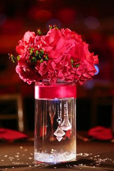 cylinder vase wedding centerpiece idea for the smaller centerpieces!! Love the crystals hanging!!