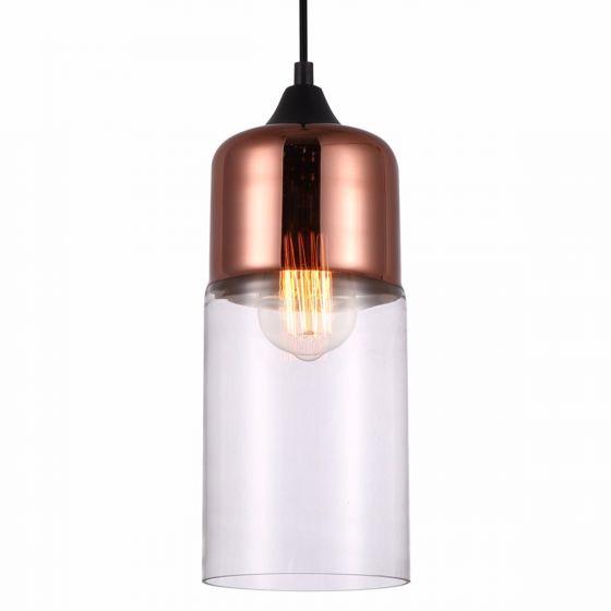 Lampada Riflettare Small Copper & Glass Shade Pendant Light