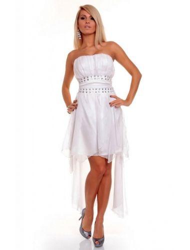 Sexy Satin Bandeau Evening Dress Chiffon Rhinestone White- stunning rhinestones just below the bust line.| Gowns and Long Dresses | Nightwear | StringsAndMe