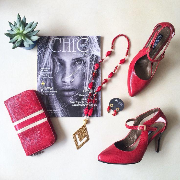 Instyle Red Inspiration - zapatos, billetera y collar rojos  Red heels, red wallet, red collar  Facebook @pielargenta Instagram @piel_argenta  #pielargenta #redshoes #redheels #tacones #zapatosdetacon #instyle