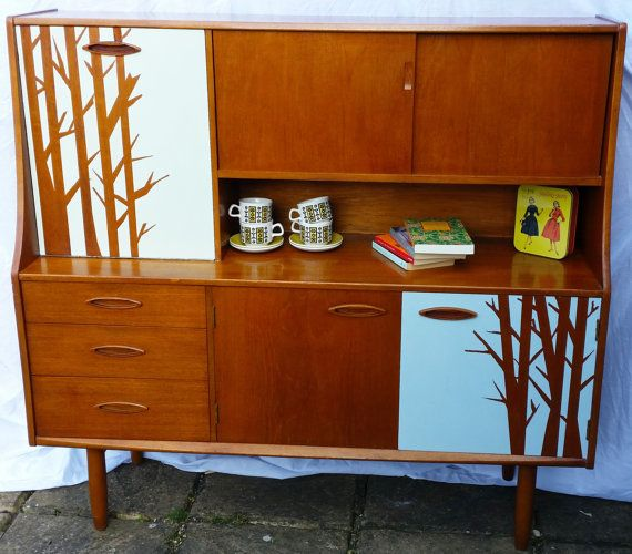 Stylish modern retro large teak bureau, cabinet painted with a woodland, tree motif