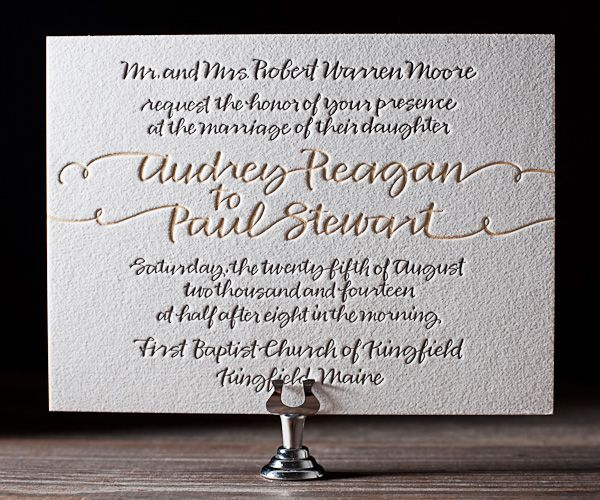 String Calligraphy by Patricia Mumau is a unique and funky letterpress wedding invitation that puts a modern spin on traditional calligraphy.