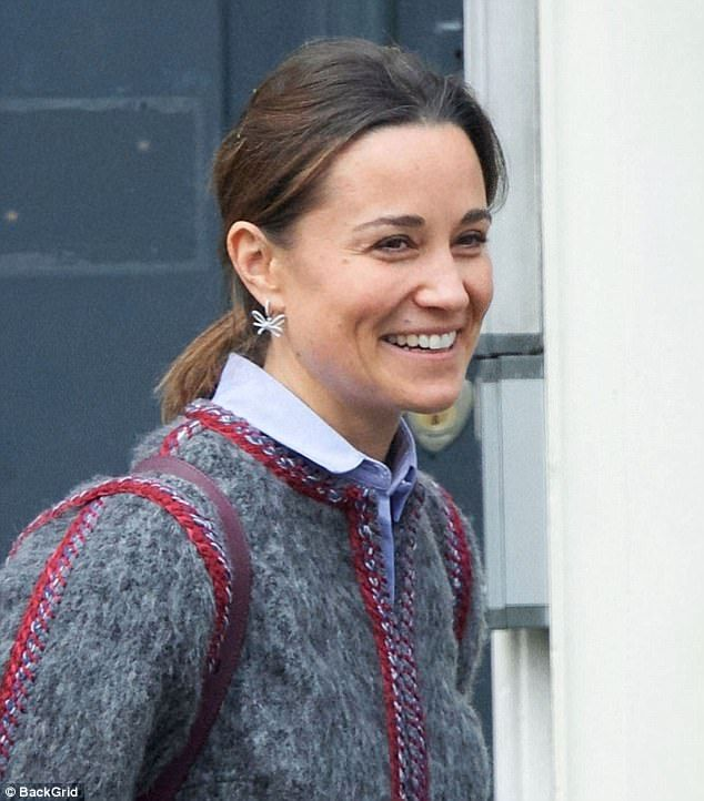 Pippa Middleton, 34, let her natural beauty shine as she went makeup-free on a day out wit...