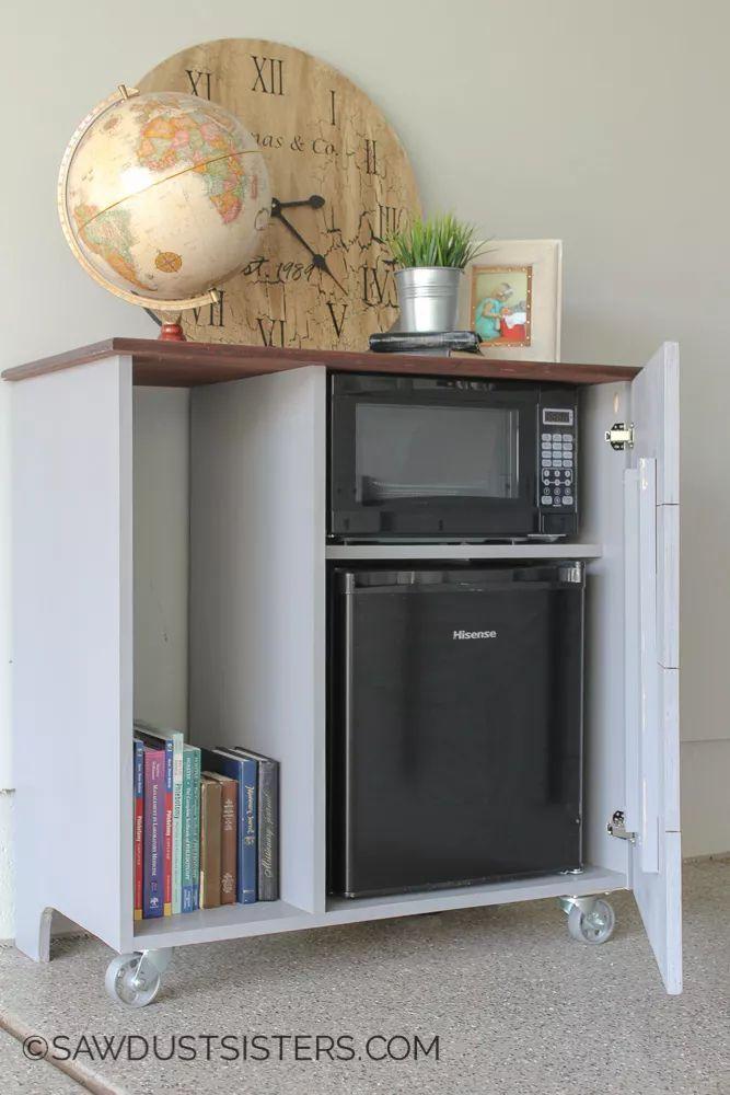 Diy Mini Refrigerator Storage Cabinet Free Plans Kitchen Remodel Small Refrigerator Storage Dorm Kitchen