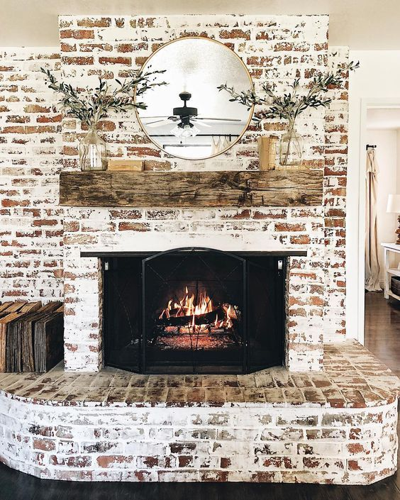 German Schmear Fireplace In 2019 Brick Fireplace Living