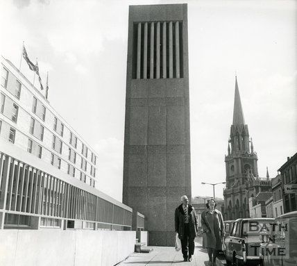 The ventilation shaft outside the Beaufort (Hilton) Hotel, Walcot Street, Bath, 1973