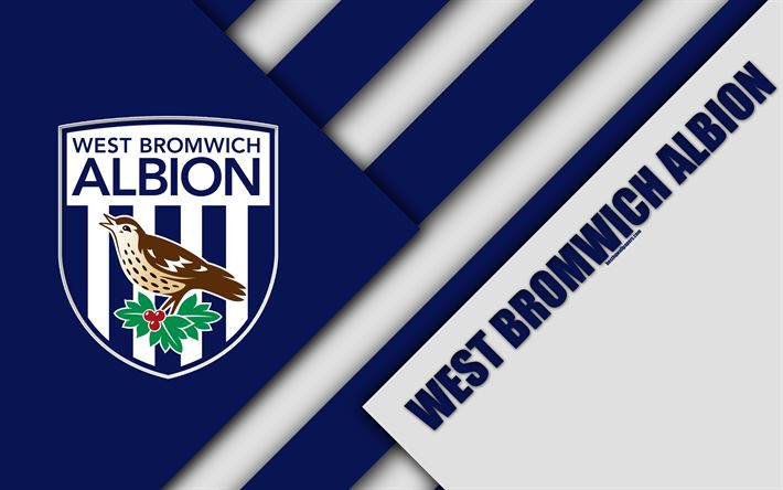 Download wallpapers West Bromwich Albion FC, logo, 4k, material design, blue white abstraction, football, West Bromwich, England, UK, Premier League, English football club