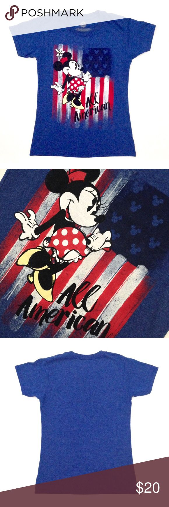 Disney Store Minnie Mouse Americana Flag Tee M Classic Minnie rolls out the red, white, and blue for a star-spangled salute to Old Glory on this soft heathered tee that will make everyone stand up and cheer! Disney Tops Tees - Short Sleeve