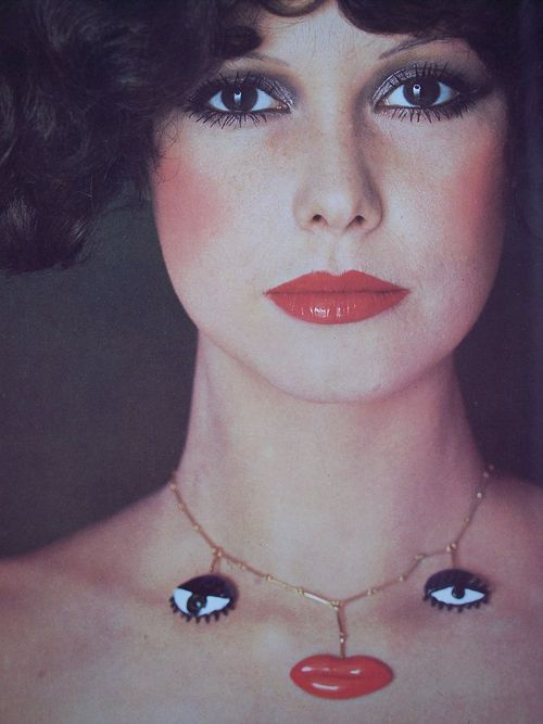 """GianCarlo Montebello, an italian jeweler, was dedicated to working with and producing for artists. Niki de Saint Phalle designed this surrealistic and whimsical """"mouth & eyes"""" pendant produced at Gem Montebello in 1967."""