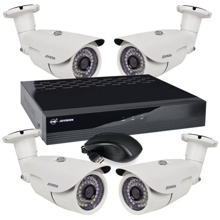 Jovision 8-Channel 1080p Surveillance NVR DIY Kit w/4 IR 1080p IP Cameras PoE Switch Remote Access-Just Add Hard Drive
