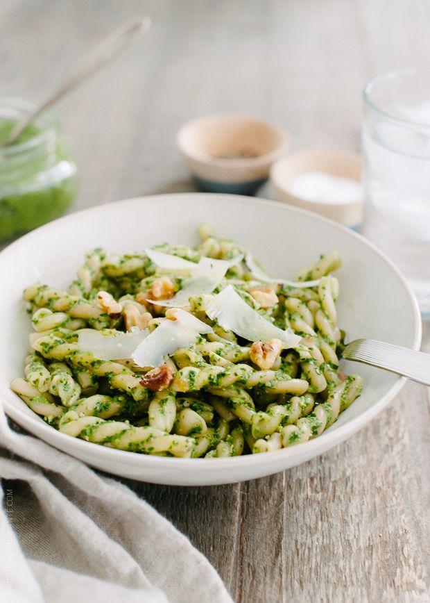 Swiss Chard Walnut Pesto Pasta   http://www.kitchenconfidante.com