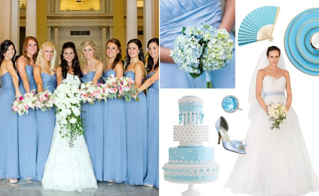 """A baby-blue palette is fancy and fun, plus you'll be totally covered when it comes to choosing your """"something blue""""! This pastel shade of blue is one of the most classic wedding colors around, so ..."""