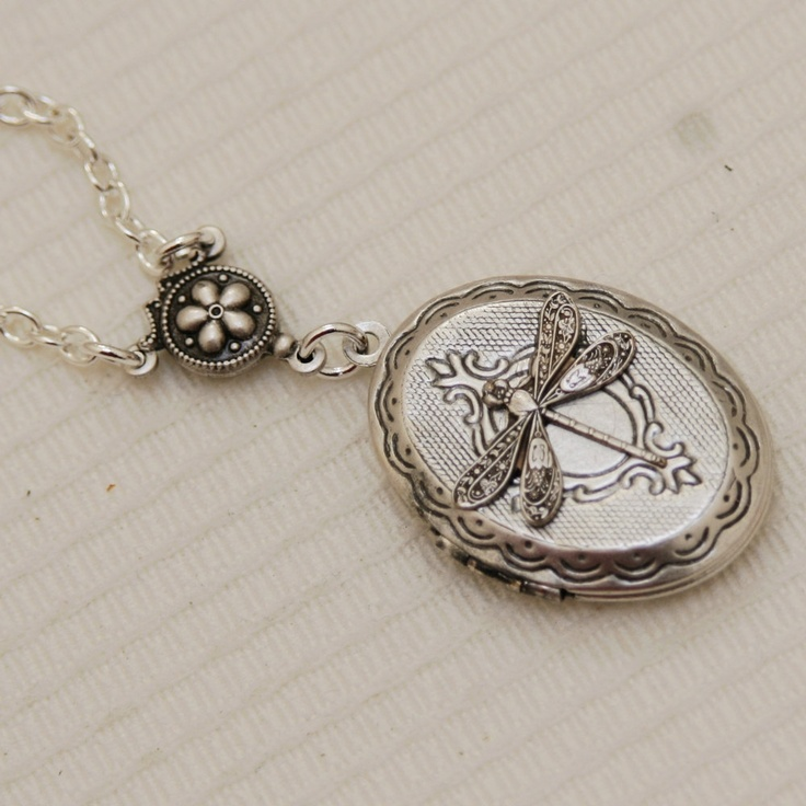 Silver LocketLocketSilver Dragonfly LocketSilver by emmagemshop