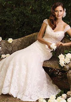 Delicate Straps Tulle Chapel Train Fit N Flare Bridal Gown With Appliques - 1300103667B - US$249.99 - BellasDress