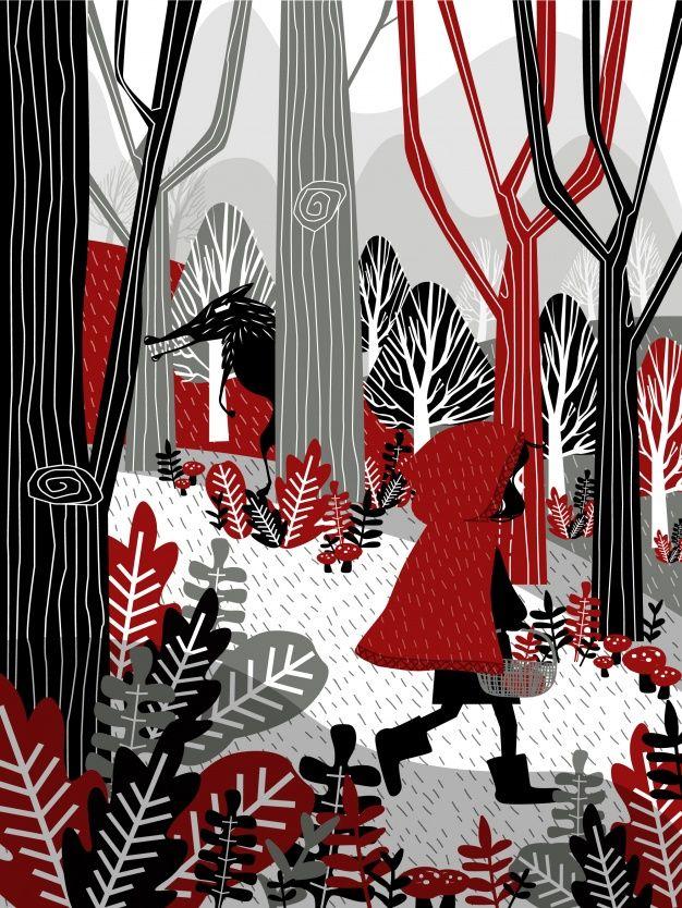 Niña pequeña con capucha roja andando por el bosque Vector Gratis