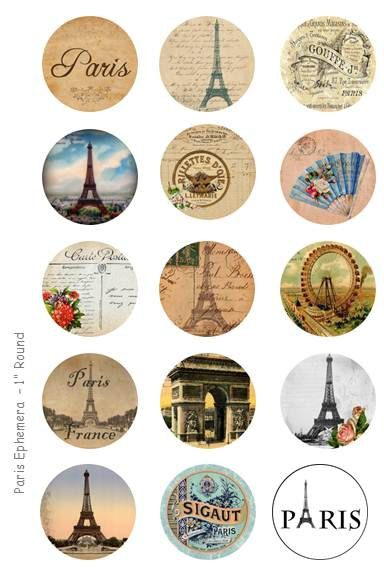 (6) Paris Ephemera Bottle Cap Images - 4 x 6 Digital Collage Sheet - 1 inch Round Circles - INSTANT DOWNLOAD