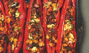 Yotam Ottolenghi's chorizo-and-almond-stuffed romano peppers.