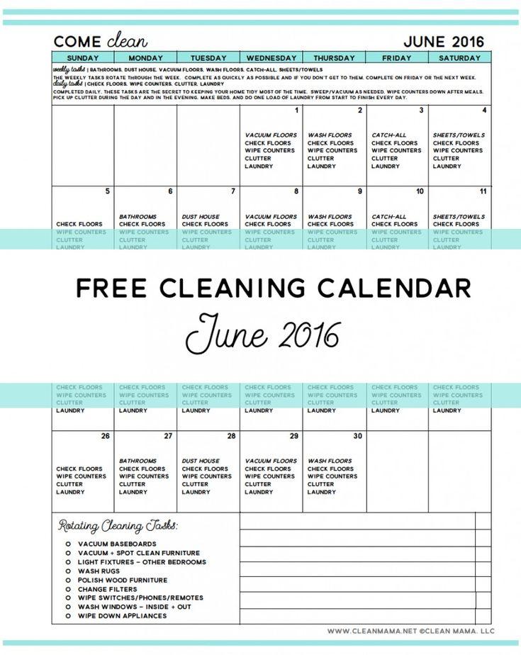 Free June 2016 Cleaning Calendar - Clean Mama