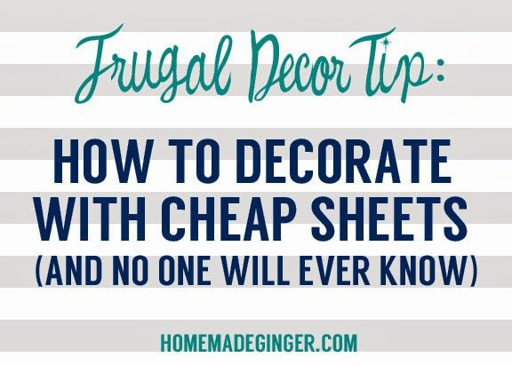 Frugal Decor Tip: How To Decorate With Cheap Sheets.  Great idea especially when you need something up there fast, while saving for the custom blinds!