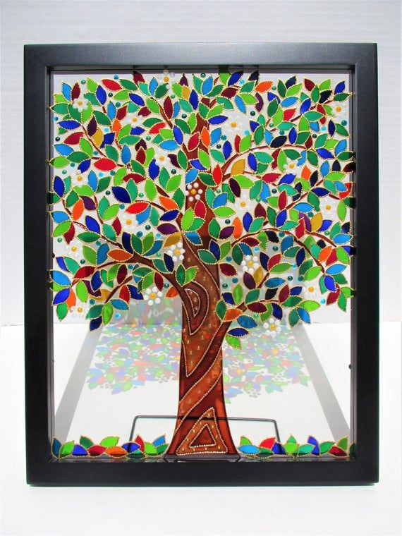 A Very Beautiful And Bright Tree Art This Art Work Is Made With Transparent Glass Paints The Paints Are High Quality And Do N Glass Painting Tree Art Painting