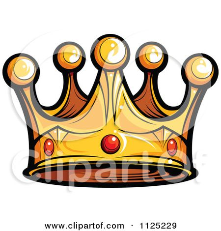 Cartoon Of A Golden King Crown With Ruby Gems - Royalty Free Vector Clipart by Chromaco