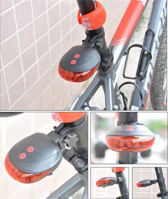 꼬리 빛 (5LED 2 레이저) 무료 배송 공장 자전거 안전 자전거 후면 램프 자전거 레이저 꼬리 빛 Bicicleta 주의 TL0008
