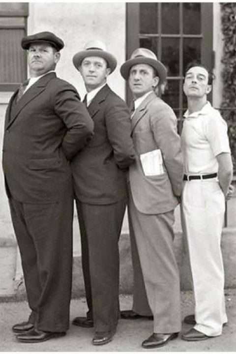 Oliver Hardy, Stan Laurel, Jimmy Durante and Buster Keaton (circa 1932)