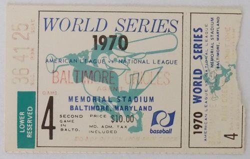 1970 World Series Game 4 Ticket Baltimore Orioles vs Cincinnati Reds