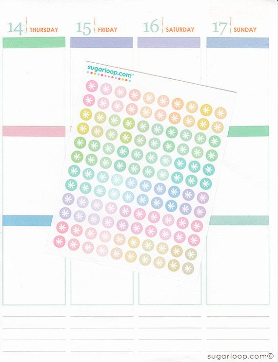 120 x 0.25 inch floral motif, rainbow colored, tiny, mini, dots, planner stickers, pastel, checklist, bullet points, daily dots, DOT1