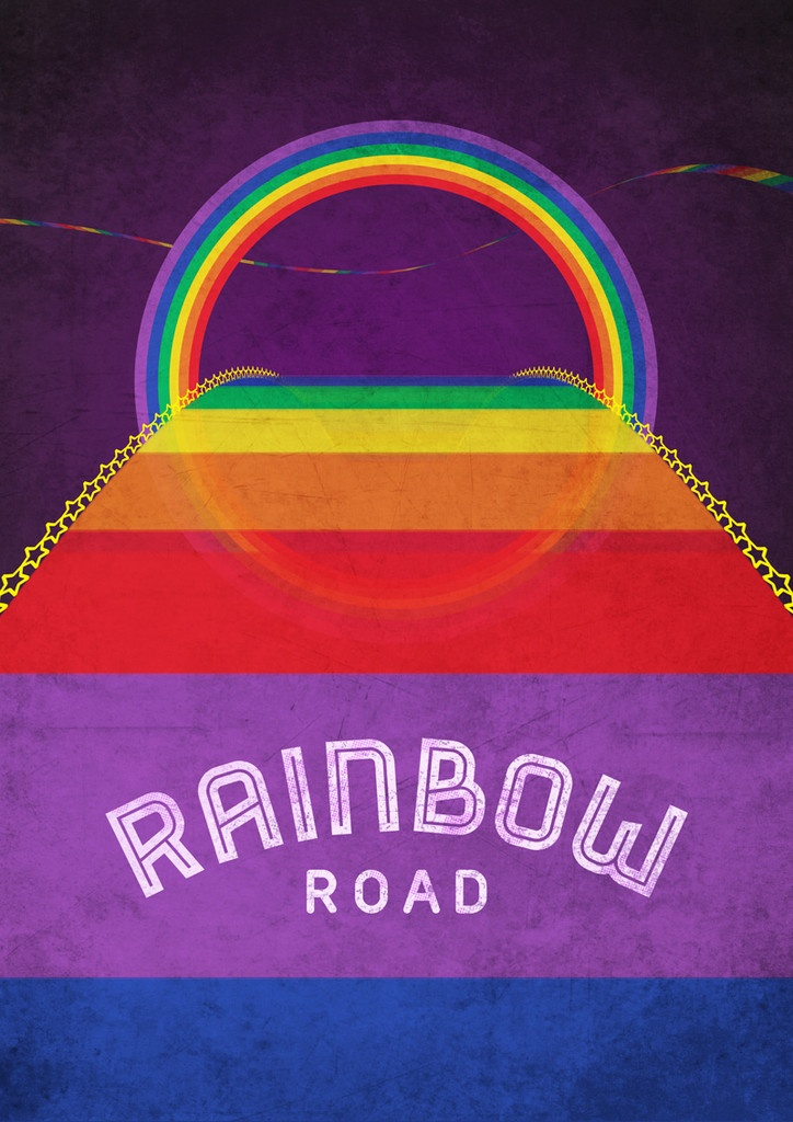 Rainbow Road - inspired by Mario Kart 64. Limited Edition run of 100 prints per size (from £12.00).