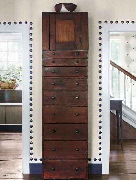 Splendid Sass: NANCY BRAITHWAITE ~ AT HOME IN ATLANTA : large nailhead trim around doors and molding