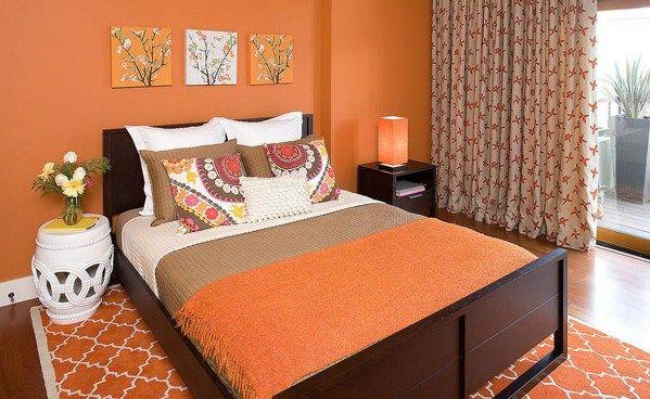 desain warna kamar tidur ukuran kecil orange