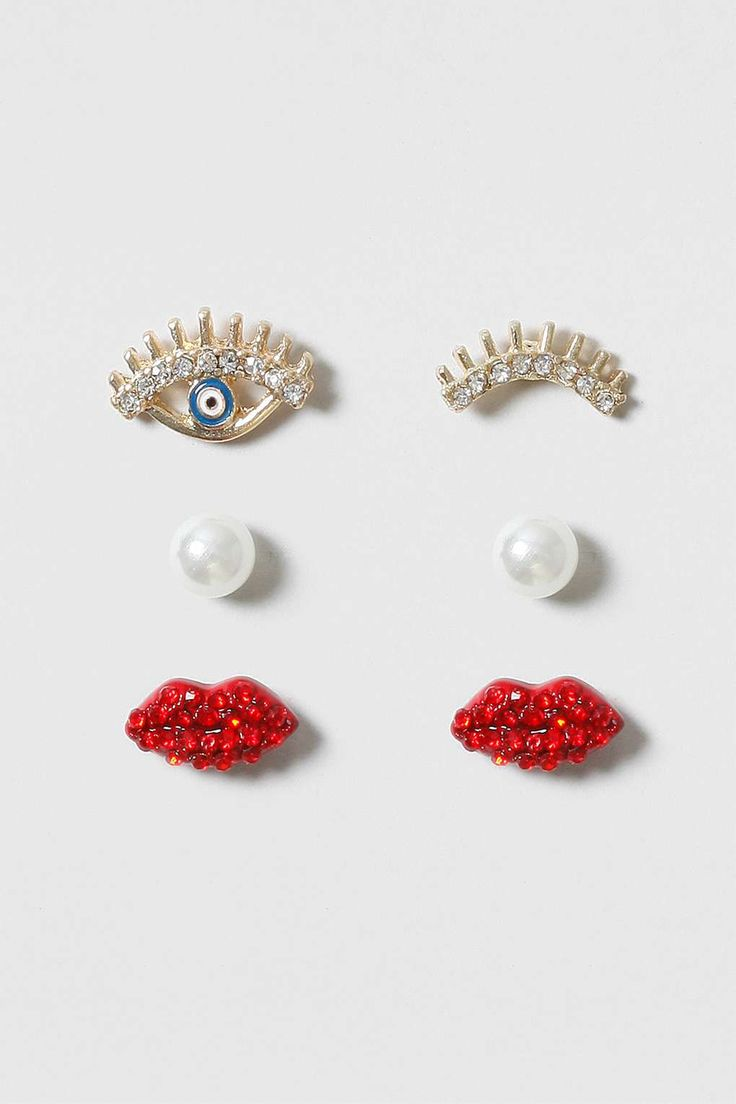 Eye and Lip Earring Multipack - Jewellery - Bags & Accessories - Topshop