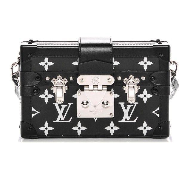 LOUIS VUITTON Reflective Petite Malle Black ❤ liked on Polyvore featuring bags, handbags, shoulder bags, mini crossbody purse, leather purses, crossbody travel purse, leather crossbody purse and louis vuitton purse