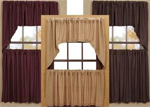 Burlap Kitchen Tier Curtains, Valance And Swag Topper  Bathroom Or Kitchen  Curtains