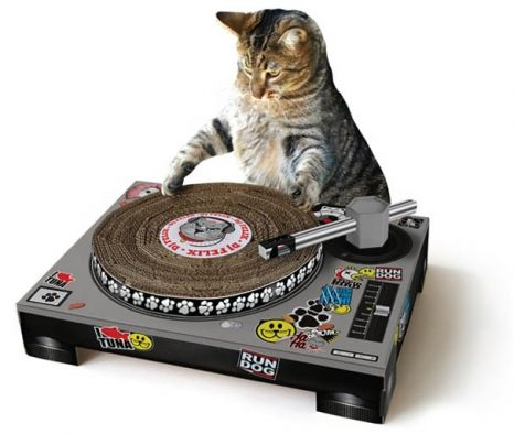 Help your cat become the next big internet star with this record player scratch pad! http://moderncat.com/favefind/record-player-scratching-pad
